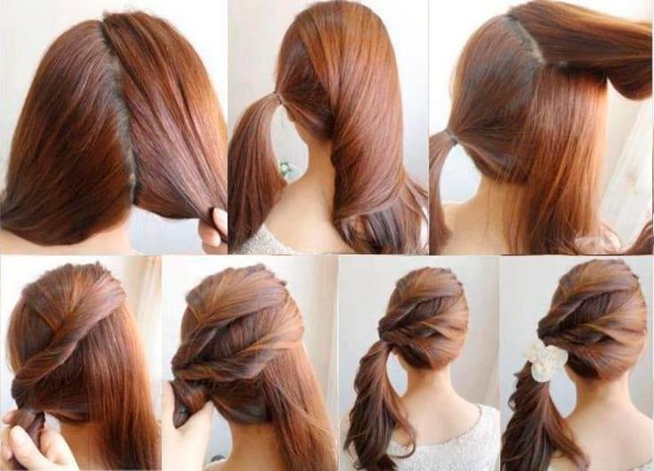 Лёгкая причёска на каждый день для средних волос