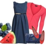 Синее платье и розовая кофта
