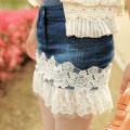 2012_summer_models_wild_section_of_white_lace_denim_stitching_skirts_1