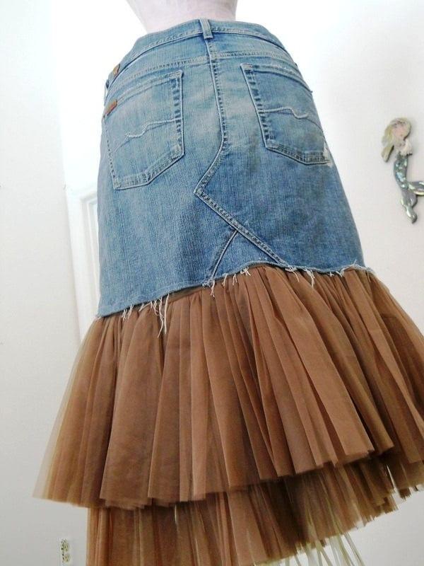 Юбка джинс+шифон