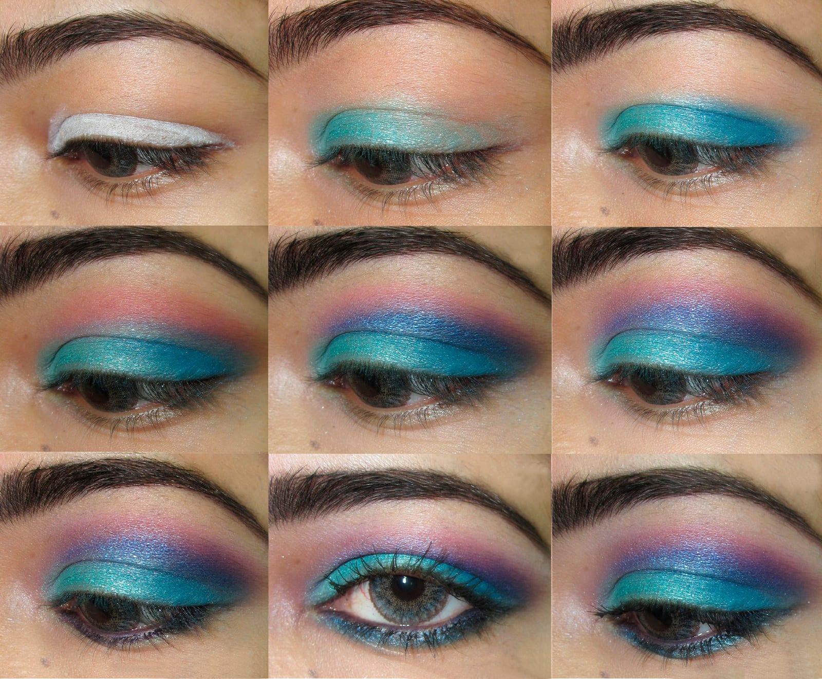 Макияж для серо-голубых глаз и тёмных волос пошагово фото