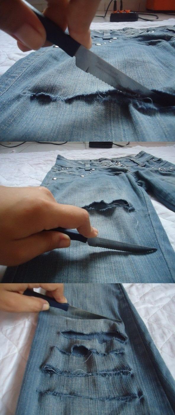 Делаем рваные джинсы