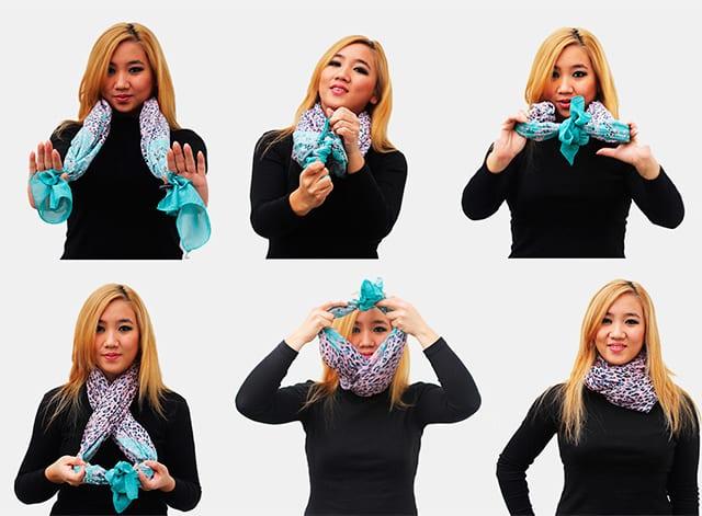 повязать шарф или платок.