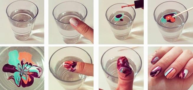 Водный маникюр на ногтях в домашних условиях 936