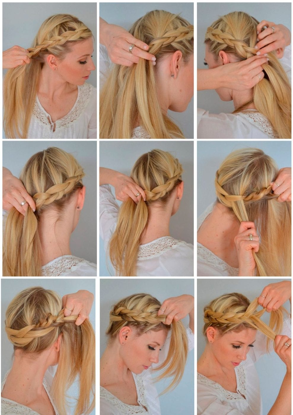 Как сделать косу самой себе вокруг головы