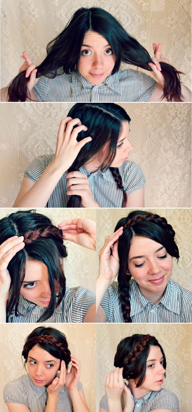 Коса вокруг головы как плести фото пошагово