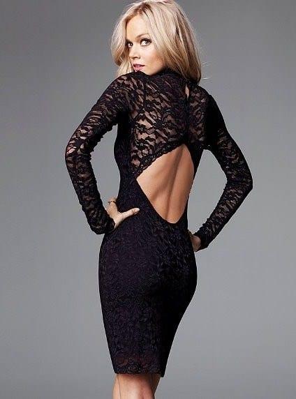 Черные кружевные платья с открытой спиной