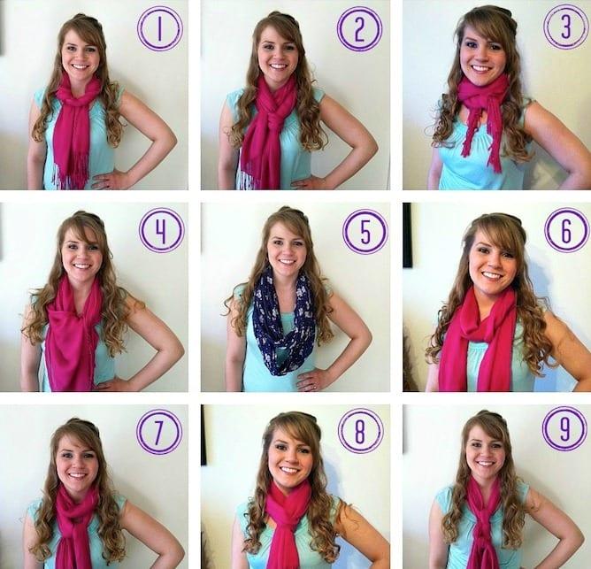 способов завязывания шарфа