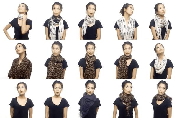 способы завязывания платков и шарфов на шее фото