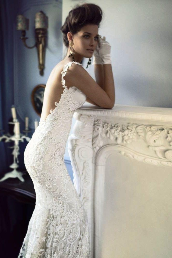 Изобр по > Свадебные Платья с Открытой Кружевной Спиной