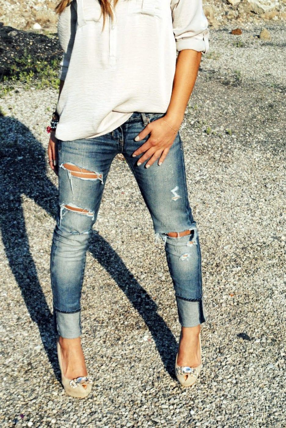 Как сделать рваный джинс