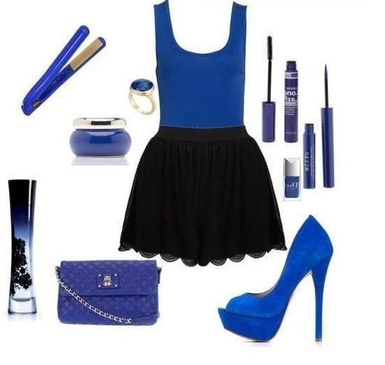 Синие туфли с чем носить