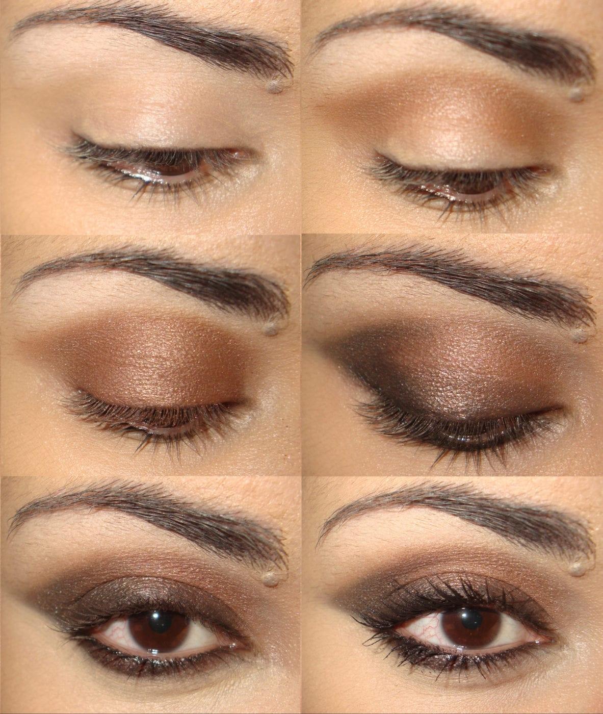Макияж теней коричневый оттенком