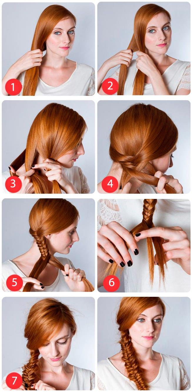 Как из волос сделать рыбий хвост из