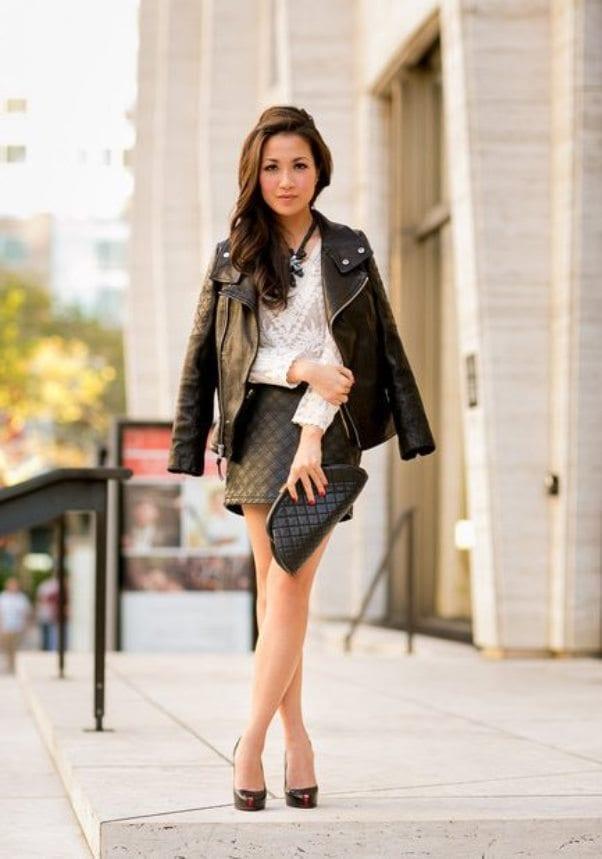 Кожаная куртка с платьем