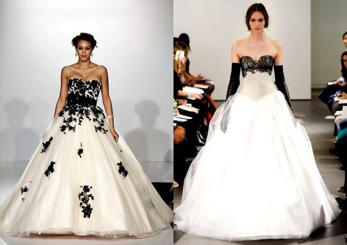 Черно-белый наряд невесты