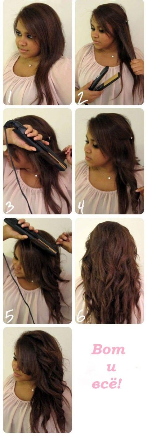 Причёски с помощью утюжка картинки