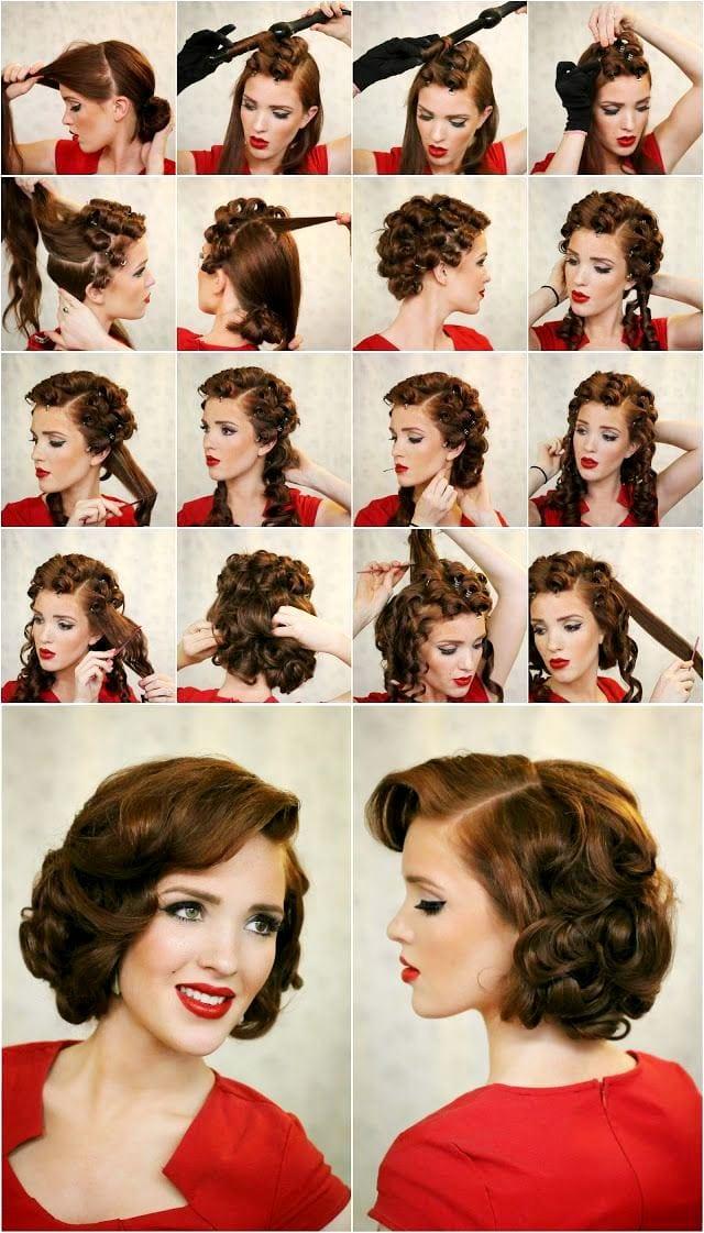 прически на средние волосы ретро стиль фото