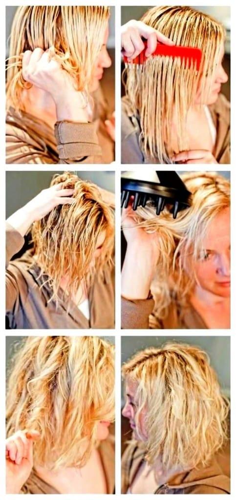 прически с диффузором на средние волосы видео