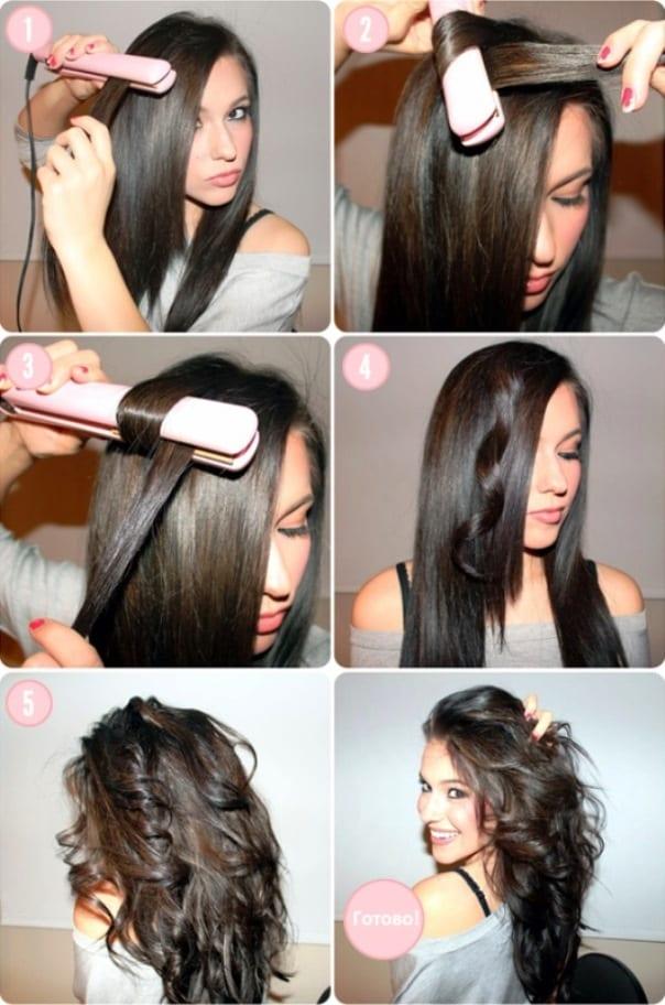 Причёска с помощью утюжка на средние волосы