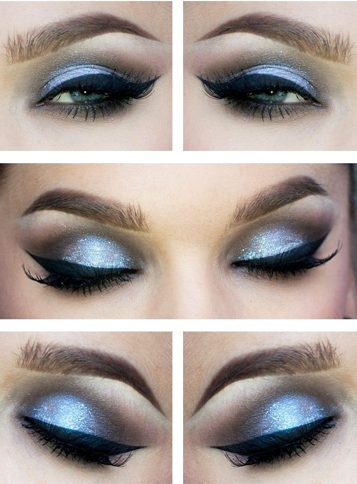 Голубые перламутровые тени