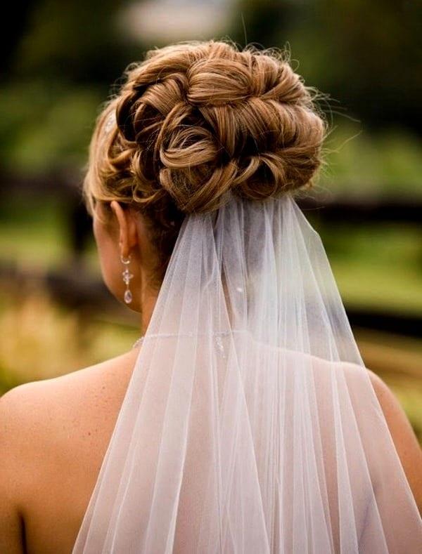 свадебные прически на средние волосы видео с фатой