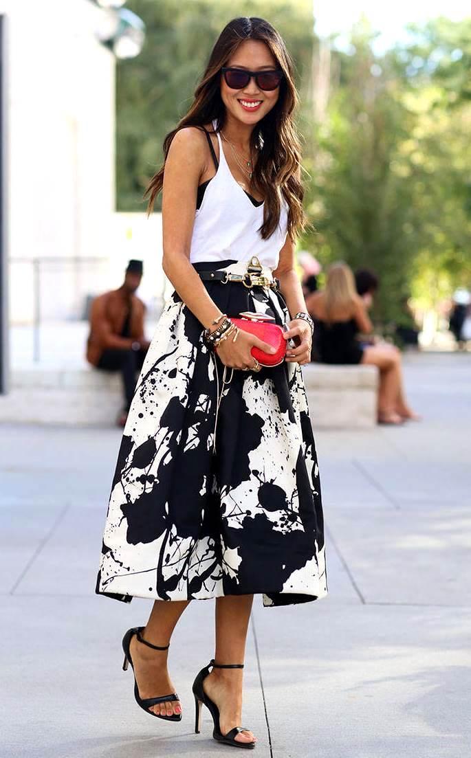 Черно-белая юбка