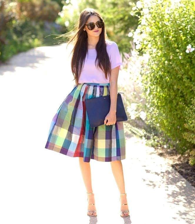 Цветные юбки до колена