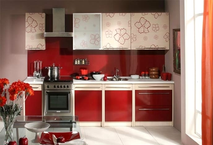 Кухня в красно бежевом цвете