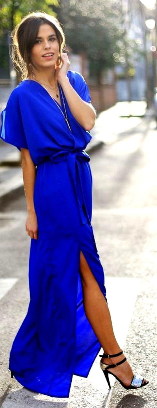 Туфли к длинному синему платью