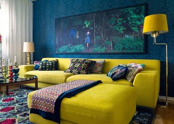 Стены синего и желтого цветов фото