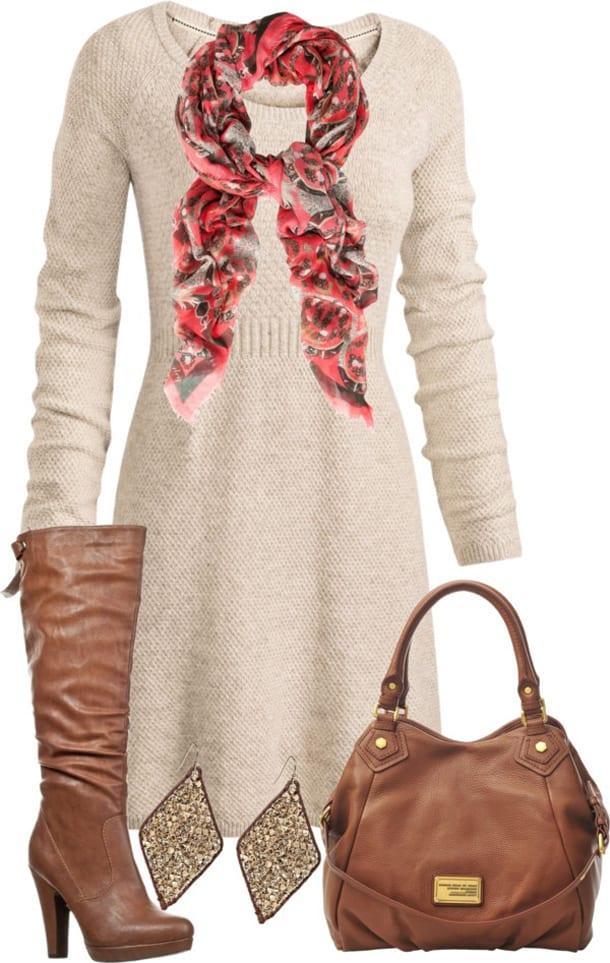 Платье, сумка, серьги, сапоги