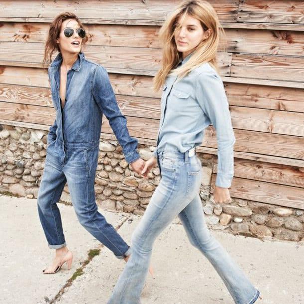 Две девушки в джинсах и комбинезоне
