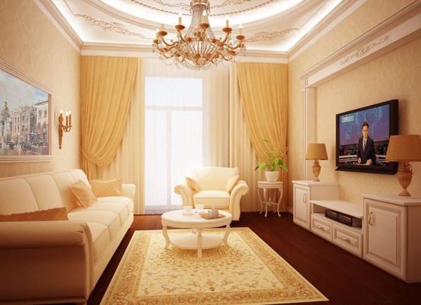 Дизайн небольшой гостиной в классическом стиле