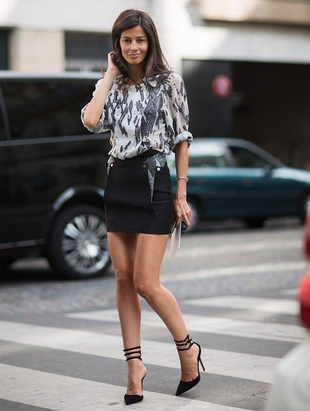Как носить черную юбку резинку