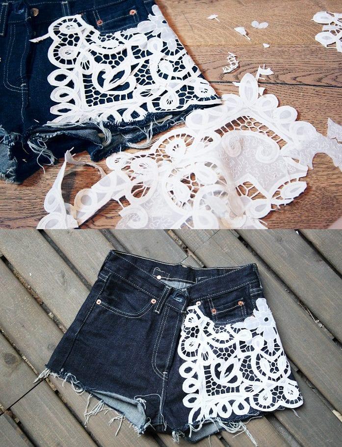Короткие шорты из джинс