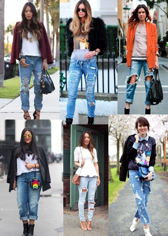 С чем носить джинсы в дырках