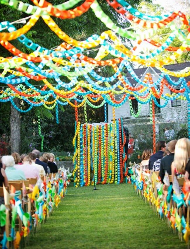 Бумажный декор на свадьбу