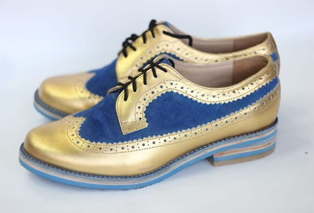 Синие с золотым броги