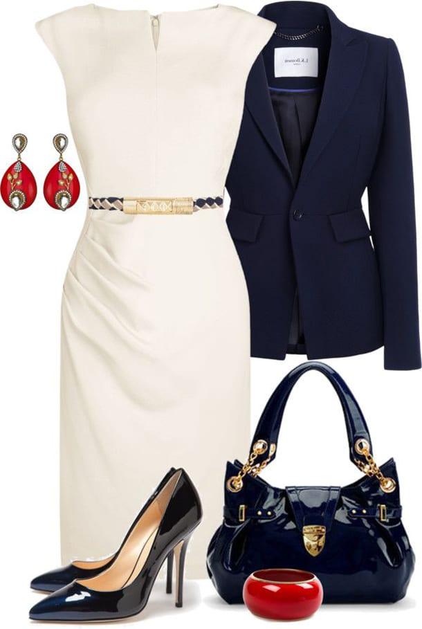 Белое платье, синий пиджак, сумка, туфли