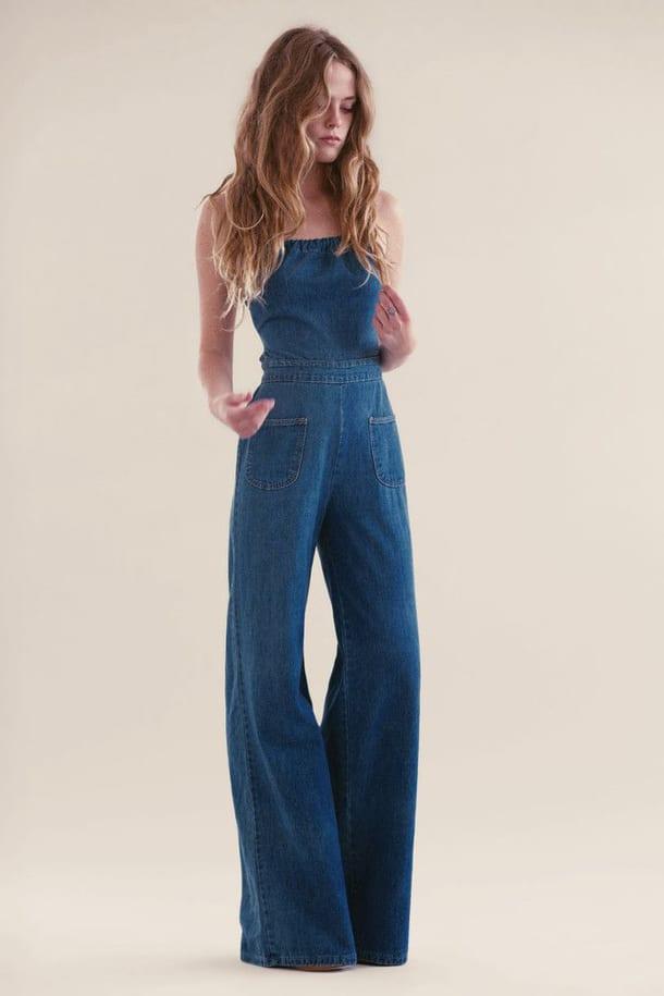 коротком, фото джинсовый комбинезон брюки клеш меха гораздо